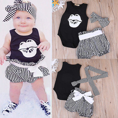 Baby Girl Clothing Sets Toddler Infant Girls Sleeveless Lips Romper T-shirt+Short Stripe Pants Headwear Kids Clothes Outfits 3