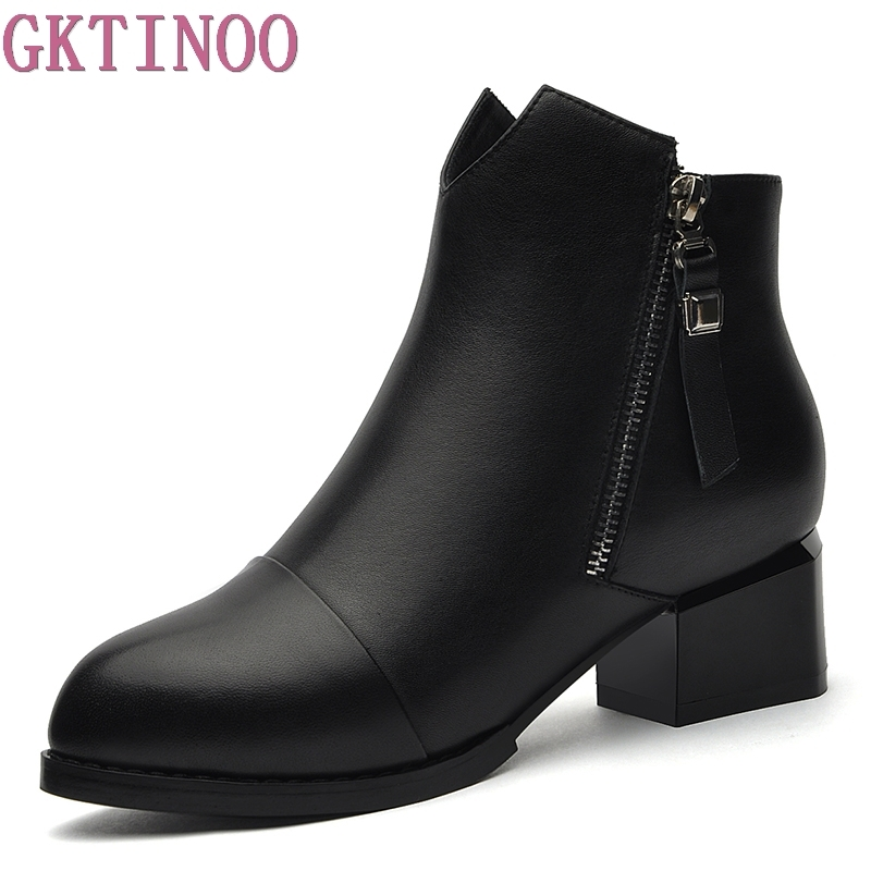 GKTINOO Women Leather Ankle Boots Square High Heel Boots for Woman Fashion Zip Black Autumn Winter Womens Boots Shoes 2017 fashion new red horsehair women ankle boots square high heel short booties autumn zip up martin botines mujer women pumps