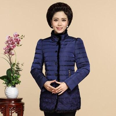 Middle-aged women's winter duvets elegant jacket coat mother padded winter coat jacket coat middle-aged woman slim fashion coat