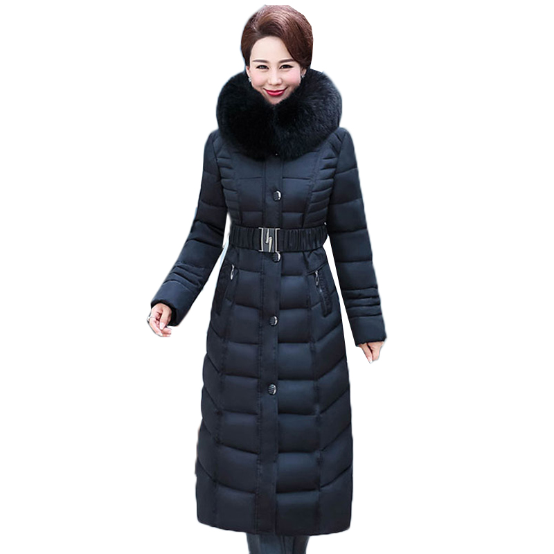 Women's Down Cotton Jacket Plus Size 5XL Middle-aged Female Winter Down cotton Jacket Coats Long style Parkas Thick Warm Jackets winter cotton jacket hooded coats women clothing down cotton parkas lady overcoat plus size medium long solid warm jacket female