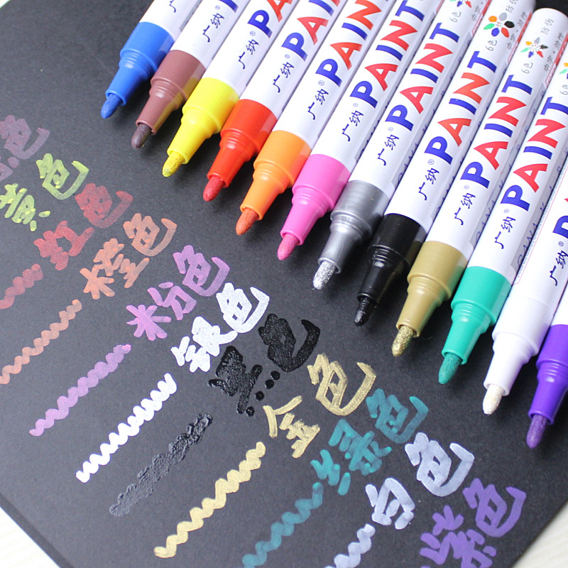 12 colors Waterproof Car Tyre Tire Tread CD Metal Permanent Paint Marker Graffti Oily Marker pen Macador Caneta Stationery diy tire marker paint pen for auto car motorcycle white green
