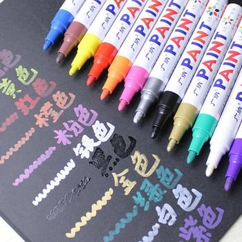 12 цветов Водонепроницаемый автомобилей шин протектора CD металла постоянное Краски маркер graffti жирной маркер macador Caneta канцелярские