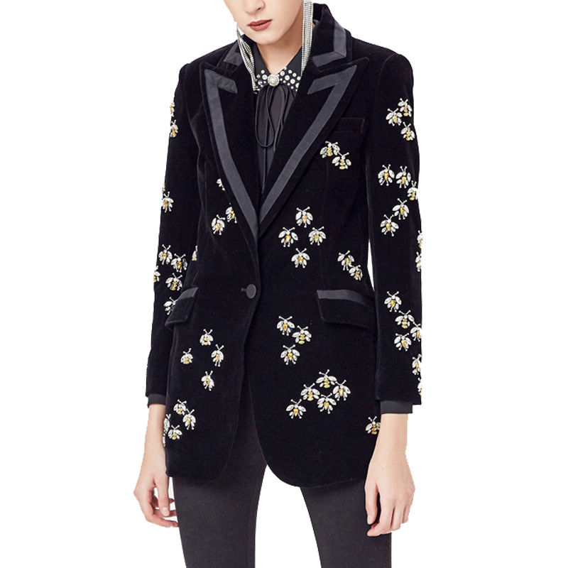 2019 Top Fashion Women's High Street Luxury Black Velvet Blazers Notched Animal Beading Fit Blazer Coat Plus Size XXXL