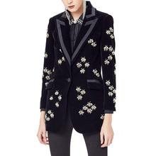 2020 トップファッション女性のハイストリートの高級黒ベルベットブレザーノッチ動物ビーズフィットブレザーコートプラスサイズ XXXL