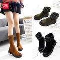 2017 Resorte de Las Mujeres Clásicas Botas de Nieve Del Tobillo Plataforma ugs Australia Zapatos de Invierno Casual Algodón Femal Capota de lona Impermeable