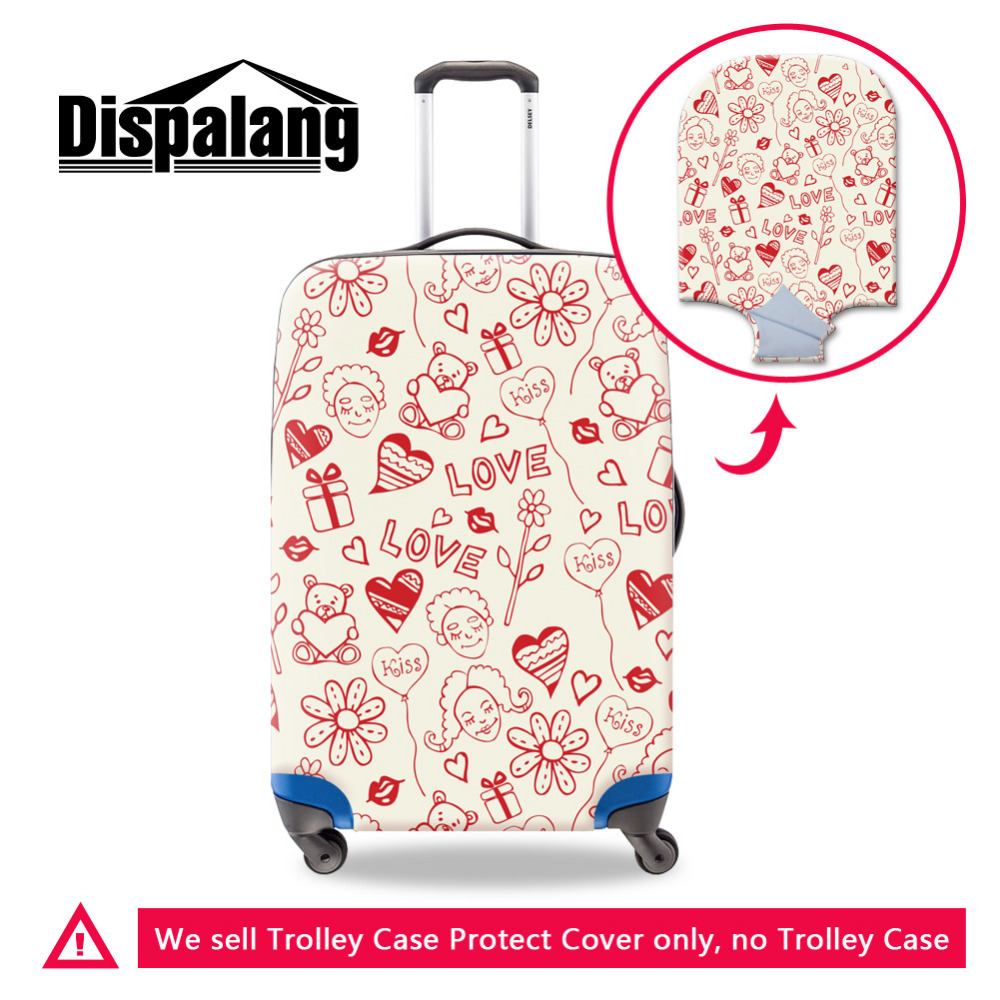 stick figure waterproof suitcase cover elastic love letter luggage protective covers for 18 30 inch