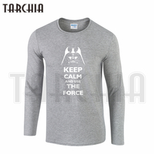 TARCHIA Free Shipping Fashion Men's Long Sleeve  T-Shirt Cotton Tee Keep Calm Roll Out Use The Force Plus Size Star Worlds