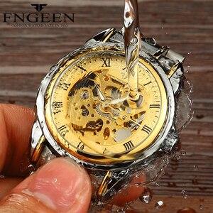 Image 2 - זוג שעונים למעלה מותג פלדה מכאני שעון יד לגברים ונשים Orologio Uomo Tourbillon שלד Relogio Feminino Saats