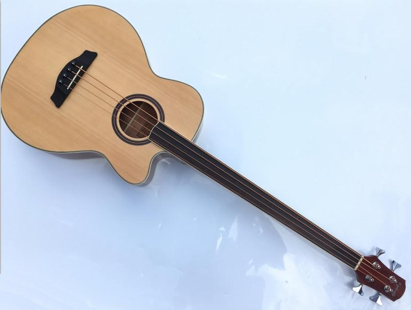 4 string fretless acoustic electric bass guitar with free case free strap free cable 4pcs 990l electric bass guitar string 045 090 strings for electric bass with colored box