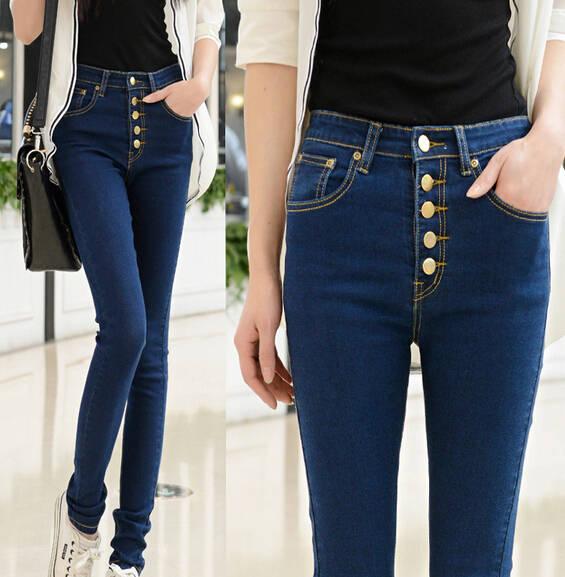 3658c6836 placeholder Chegada nova Top Quality moda feminina Casual cintura alta Jeans  Skinny lápis preto calças Jeans botões