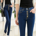New arrival Top Quality Women Fashion Casual High Waist Skinny Jeans Black Pencil Denim Pants Buttons Elastic Trousers