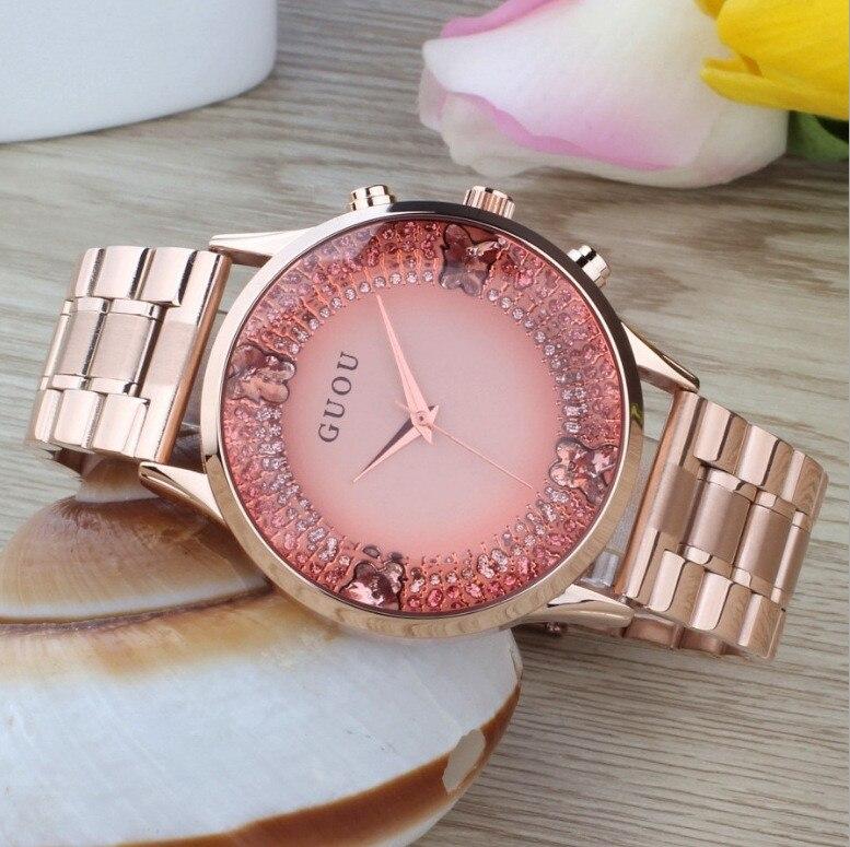 Marca de moda de lujo de cuarzo de oro de acero inoxidable señora dress mujeres rhinestone relojes pulsera impermeable Relojes