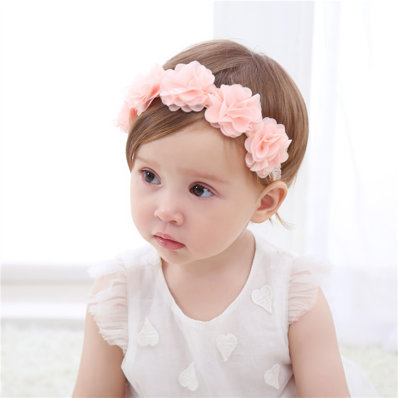 New Baby Girls Flower Headband Kids Pink Ribbon Hair Bands Handmade DIY Headwear Hair Accessories For Children Newborn Hairbands