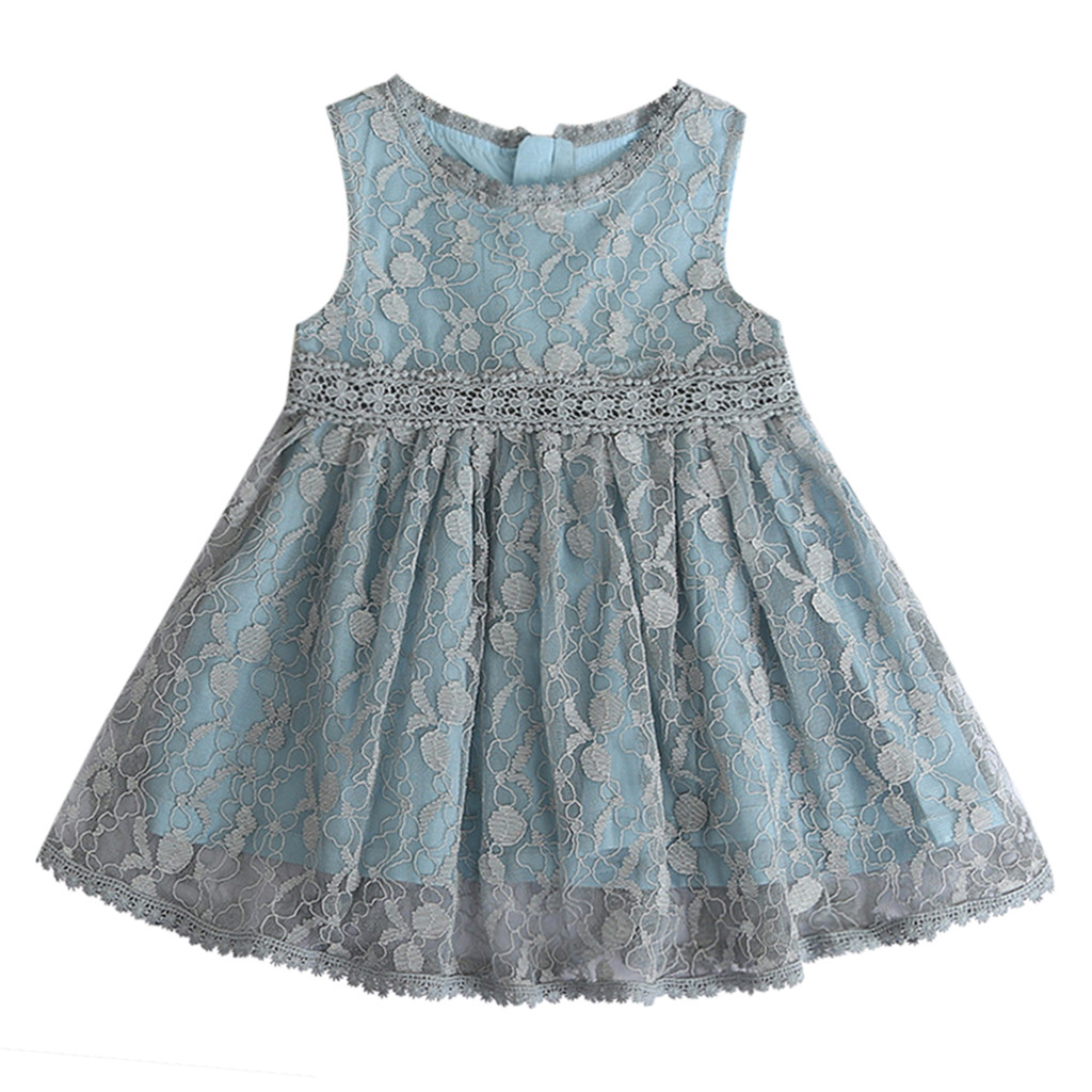 Toddler Kids Baby Girls Clothes Lace Tulle Party Wedding Pageant