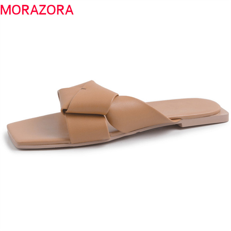 MORAZORA 2019 big size 43 outside women slipper genuine leather shoes simple summer beach shoes woman