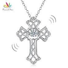 Павлин Star Vintage Стиль крест Танцы камень кулон Цепочки и ожерелья Твердые стерлингового серебра 925 CFN8080