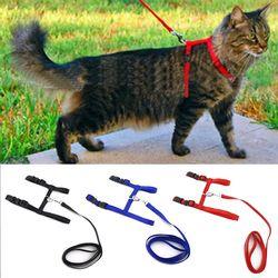 Кошачий собачий ошейник шлейка и поводок регулируемый нейлоновый Pet тягового котенка Холтер воротник кошки товары для домашнего животного ...