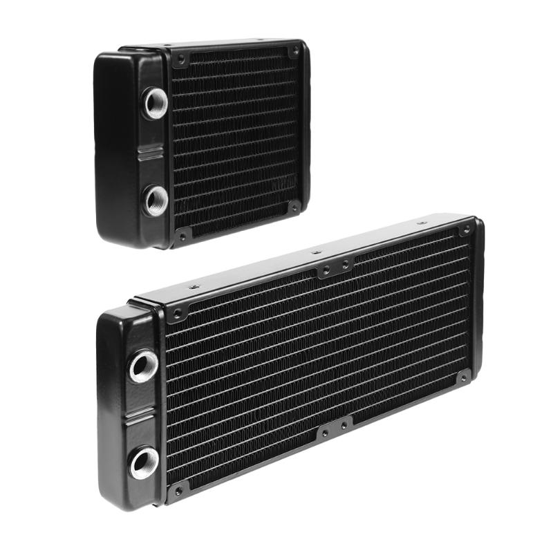 24 Tubes G1/4 Thread Water Cooling Radiator Double Aluminum Water Cooled Heat Dissipation Heat Sink Exchanger for PC Computer 240mm water cooling radiator g1 4 18 tubes aluminum computer water cooling heat sink for cpu led heatsink heat exchanger