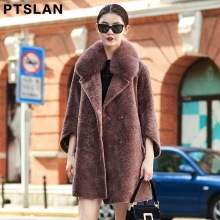 Ptslan High Quality Sheep  Fur Coat Long Fashion Fox Fur  Collar Coat Wool  Winter Coat
