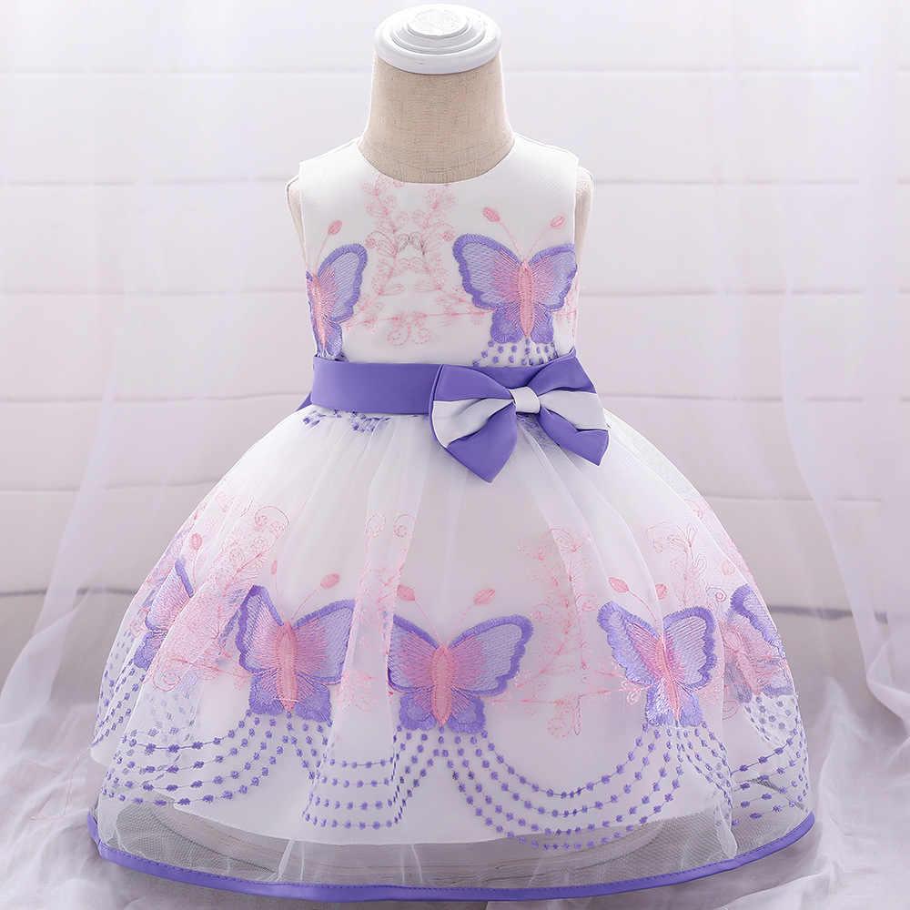 2019 г. Новые Вечерние Элегантные платья на день рождения для маленьких девочек, платье с цветочным узором для девочек, свадебное платье платья на крестины для маленьких девочек