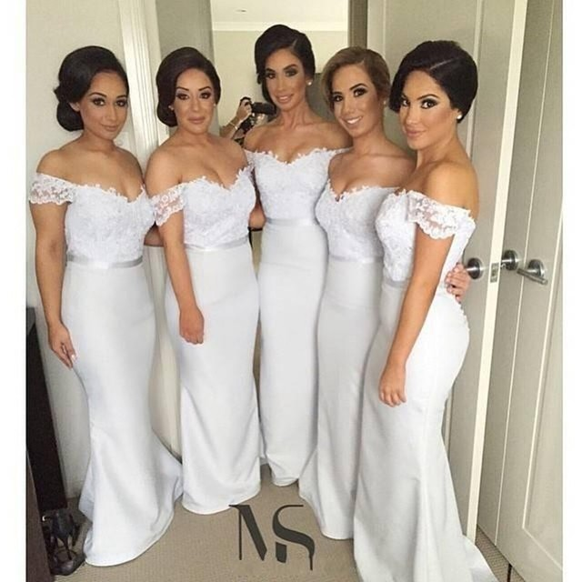 Sexy Off the Shoulder Long Lace Bridesmaids Dresses Formal Gowns ...