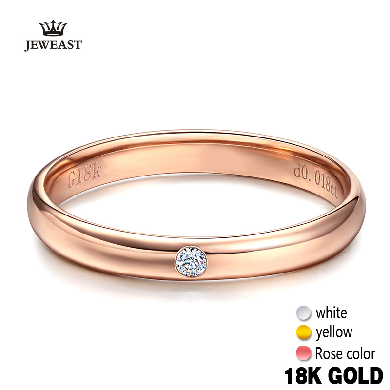 18k Pure Gold Lover Rings Natural Smooth Elegant Engaged Wedding Rose Women Men Couple Classic Fine Gift Good Customize 18k rose gold women stud earrings double balls fine engaged wedding jewelry fashion female delicate gift hot sale trendy party