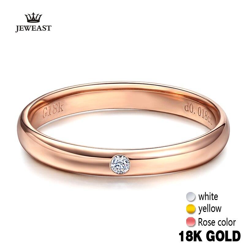 Anillos de amor de oro puro de 18k Natural liso elegante compromiso Rosa mujeres hombres pareja clásico buen regalo personalizado