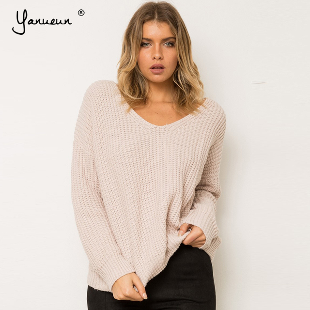 Yanueun Sexy backless knitted Pullover Lace up Autumn Winter Sweater Women  Casual 8a921ec37