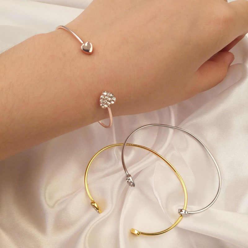 2019 Новое модное регулируемое Хрустальное Двойное сердце бант обертывание браслеты женские ювелирные изделия подарок оптом