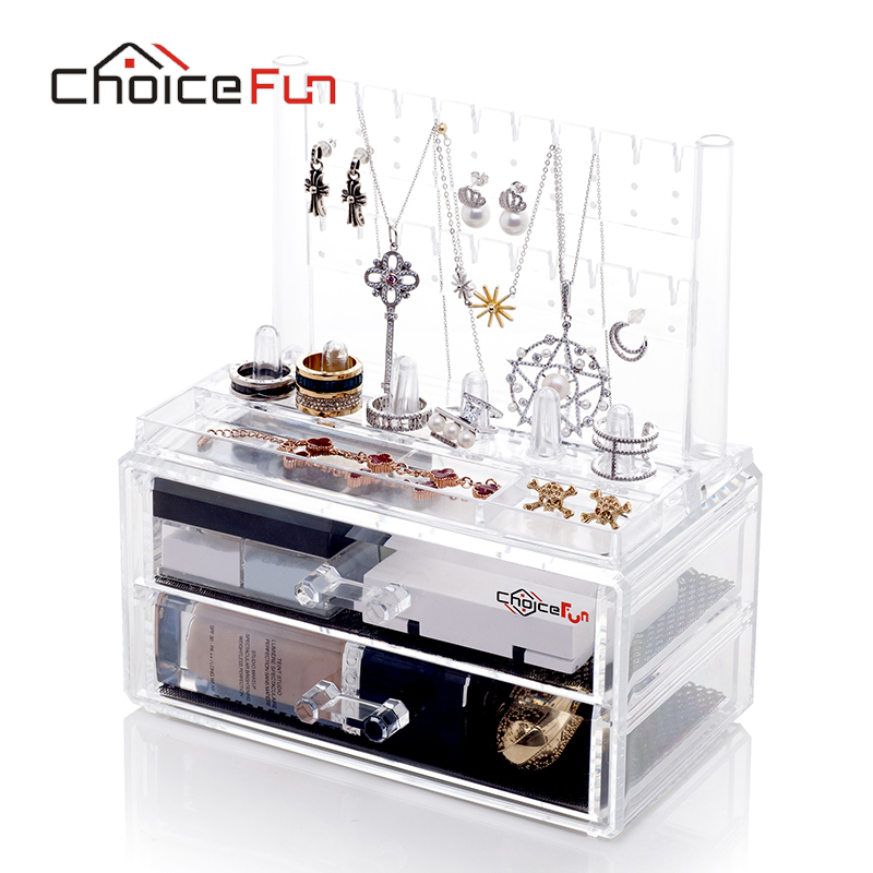 CHOICEFUN Makeup Organizer Cosmetic Jewelry 2 Drawer Cases Holder Make Up  Container Storage Box 100% Guaranty SF 2194 2