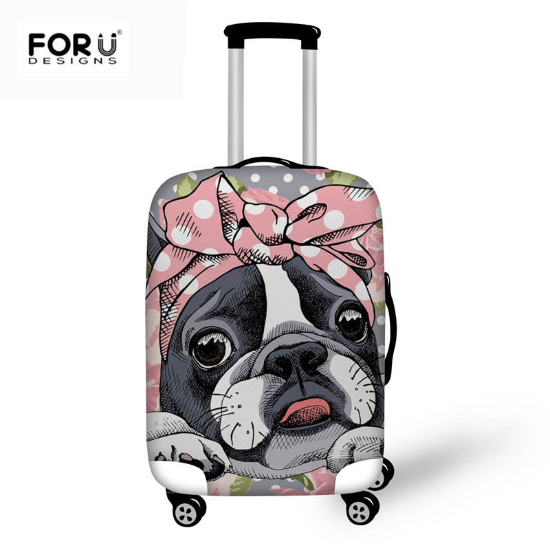 FORUDESIGNS Boston Terrier Luggage Case Cover High Quality Covers for Suitcase Women Fashion Cute Pug Printed Travel Accessories