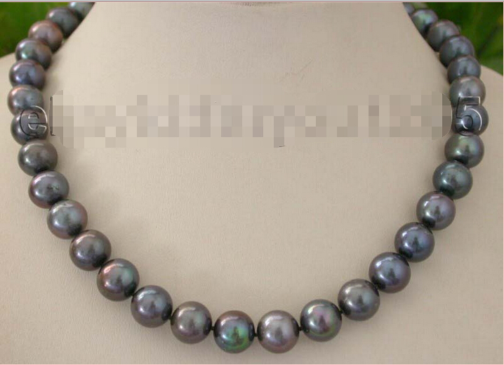 17.5 Genuine Natural 12mm black Round Pearl Necklace 925silver clasp #f1174! NEW