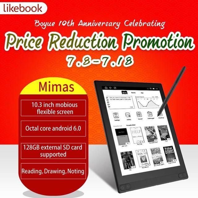 2019 recién llegado likebook mimas lector electrónico de 10,3 pulgadas con Octa core 2 GB de RAM con doble luz frontal y andord 6,0 con escritura a mano