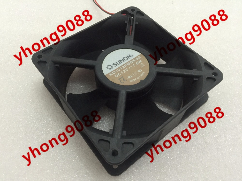 Free Shipping For SUNON KD1212PMBX-6A DC 12V 7.6W 2-wire connector 70mm 120x120x38mm Server Square Cooling Fan free shipping for sunon gb1207ptv2 a 13 b4396 f gn dc 12v 2 2w 3 wire 3 pin connector 70mm 70x70x25mm server square cooling fan