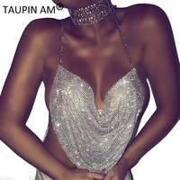 TAUPIN AM Summer 2017 Sexy Camisoles For Women V-neck Rhinestone Halter Top Backless Crop Top Bustier Sleeveless Metal Tank Top