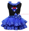 Patriotic Star Minnie Black Top 4th July Royal Blue Satin Trim Skirt Girl Outfit NB-8Y MAPSA0779