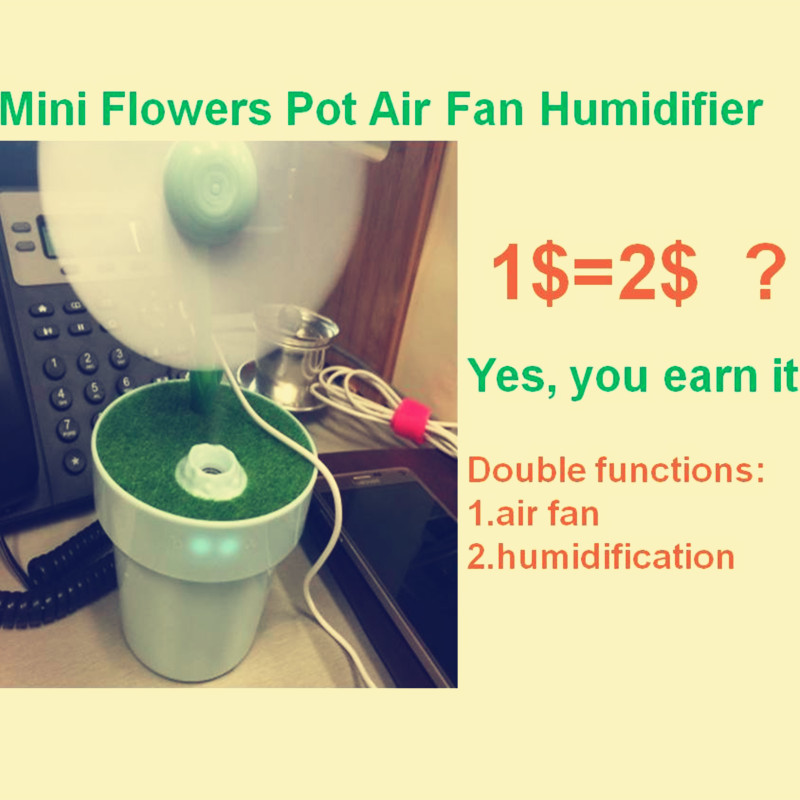Green Air Fan Humidifier aroma diffuser USB Rechargeable water oil mist steamer fog maker air purifier cleaner humidificador
