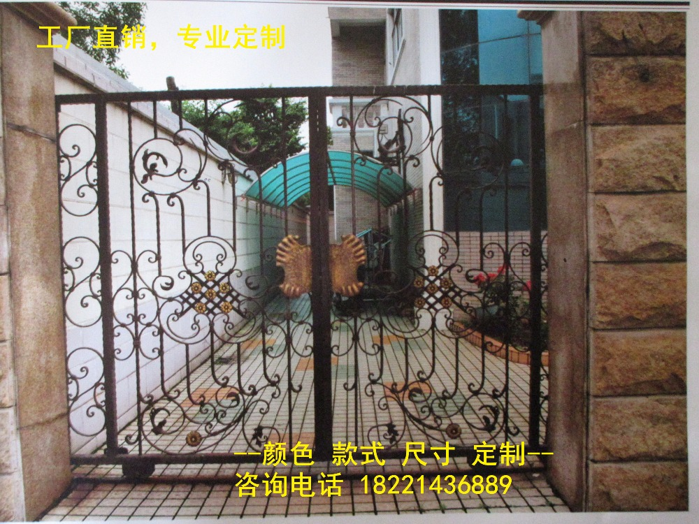 Custom Made Wrought Iron Gates Designs Whole Sale Wrought Iron Gates Metal Gates Steel Gates Hc-g77