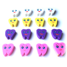 50pcs/pack Tooth Shaped Rubber Erasers Kawaii Stationery School Cute Supplies Student Gift