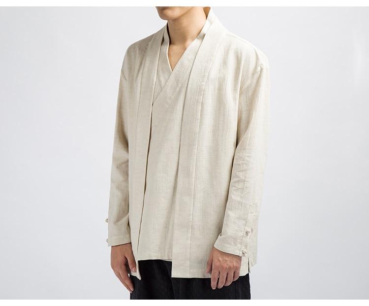 e linho sólido causal quimono jaqueta preta