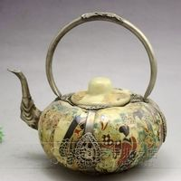 Retro antique crafts sculptures exquisite white eight immortals porcelain silver and wine pot Free shipping