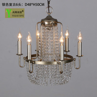 LED Luxury K9 Crystal Candle Ceiling Lights Fixtures Iron Vintage Sitting Room Restaurant Dining Room Ceiling Lamp Droplight