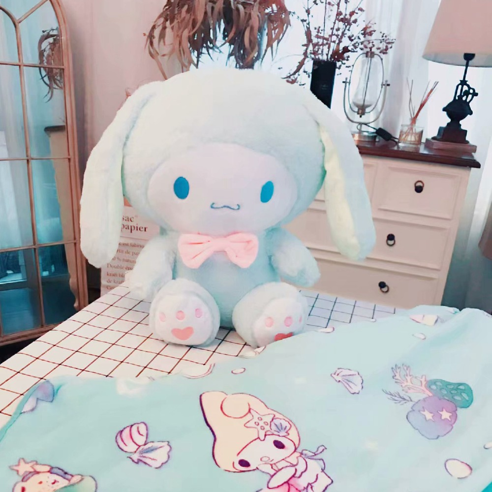цены candice guo! cute plush toy lovely Cinnamoroll melody turn to big ears rabbit soft stuffed doll blanket birthday Christmas gift