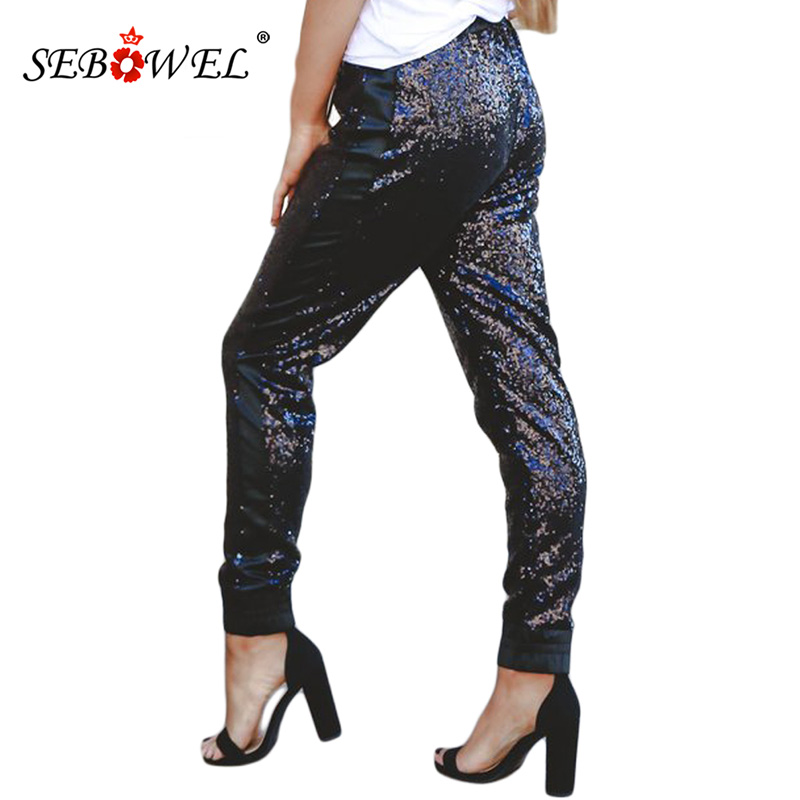 SEBOWEL Sexy Sparkle Black Sequin Pencil Pants Women Casual Drawstring Stretch High Waist Long Pants Clubwear Maxi Trousers in Pants amp Capris from Women 39 s Clothing
