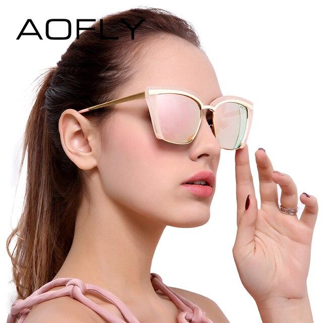 AOFLY Fashion Sunglasses Women Half Frame 2017 Luxury Brand Designer Sun glasses Vintage Goggle Eyewears UV400 Protection AF7905