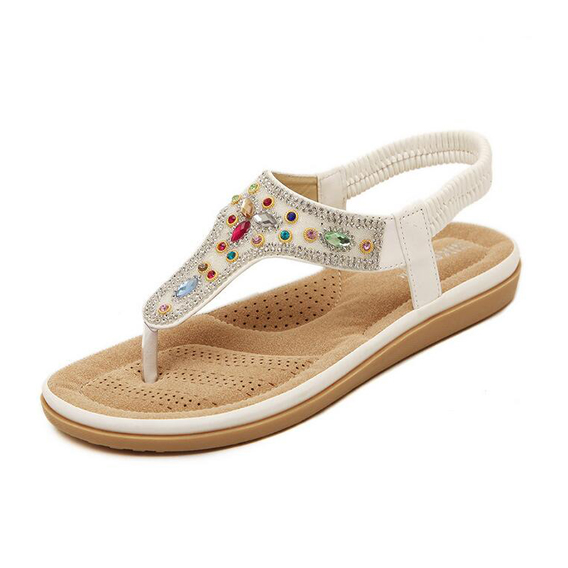 2017 new fashion plus size font b women b font shoes flat sandals rhinestone comfort summer