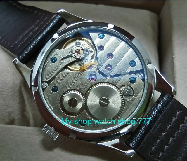 Sapphire crystalbutterfly buckle 44mm PARNIS white dial blue hands 17 jewels ST3600 Mechanical Hand Wind movement Men's watches