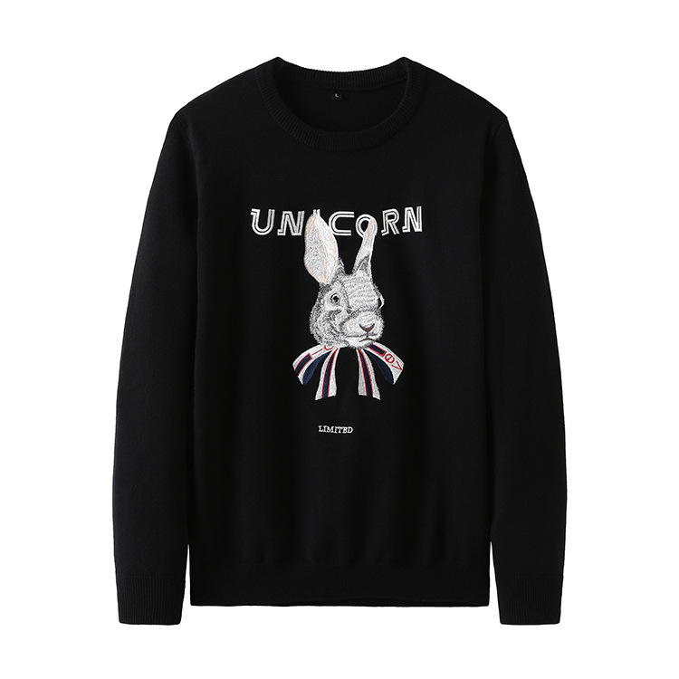 New 2019 Man Luxury Embroidered Unicorn Rabbit Knit Casual Sweaters Pullovers Asian Plug Size High Quality Drake #J59