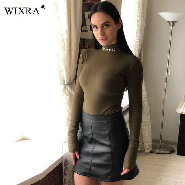 Wixra Basic Turtleneck Bodysuits 2017 Spring Autumn Women Long Sleeve High Neck Skinny Russian Letter Embroidery