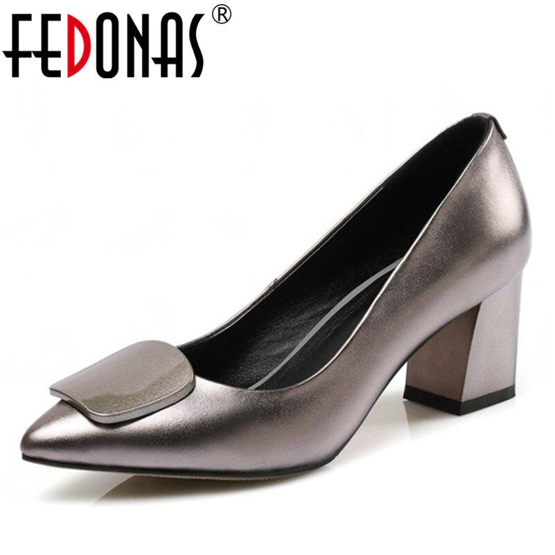 FEDONAS Nieuwe Mode Vrouwen Echt Lederen Pompen Bruiloft Handgemaakte Schoenen Vrouw Dikke Hoge Hak Comfort Pumps Vrouwen-in Damespumps van Schoenen op  Groep 1